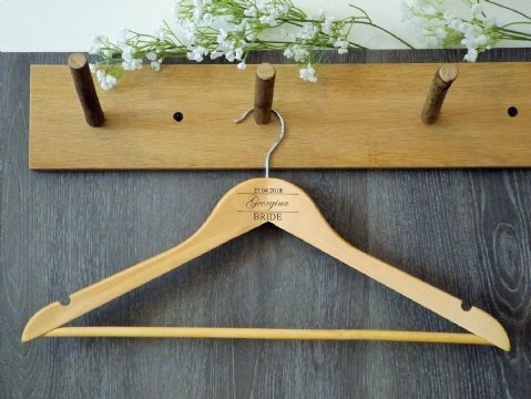 Personalised Wooden Wedding Bridal Dress Hanger Bride Bridesmaid Gift (D2)
